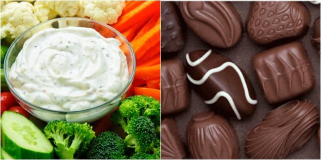 sunday social, favorite snack, broccoli, carrots, cucumbers, cauliflower, chocolate, snacks