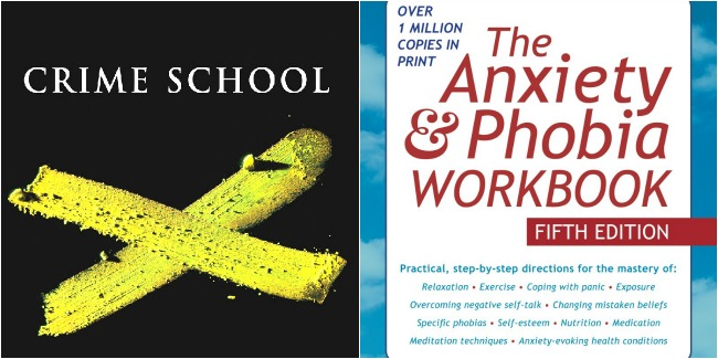 sunday social, lazy day books, crime school, carol o'connell, anxiety and phobia workbook, books
